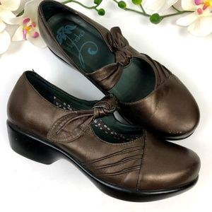 Dansko Ainsley Metallic Bronze Leather Clog Sz 40